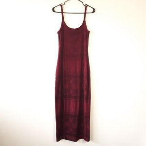 Scarlet vintage wine red macramé lace maxi dress